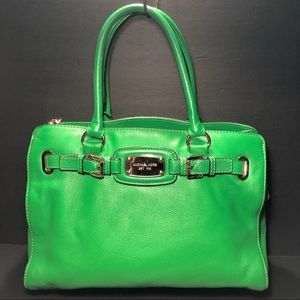 Michael Kors Green Pebbled Grain Leather Satchel